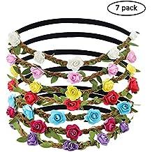 Coronas de Flores, Día De La Madre, JTDEAL 7 Colores Diademas de Flores, Flores para el pelo, Tocados de Flores con Cinta Elástica para Mujer y Niña, Para la Novia, Cosplay Actuación, Fiesta, Viajes