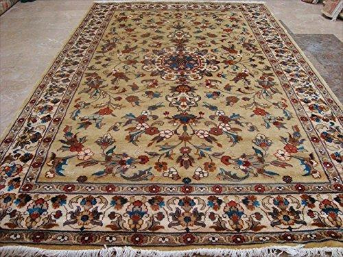 Rechteck Bereich Teppich Creme Blumen Medaillon handgeknotet Wolle Seide Teppich (8x 5) '