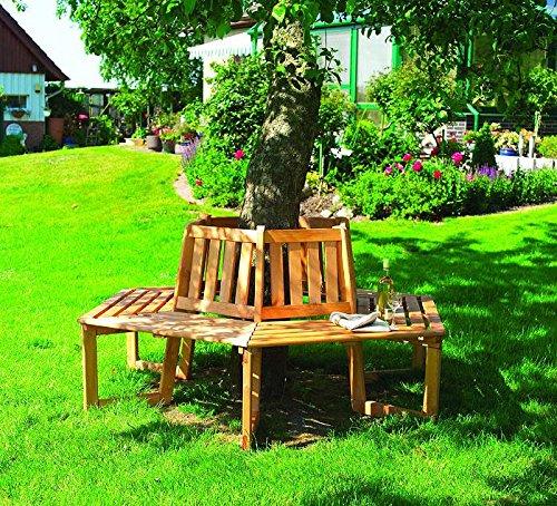 Baumbank 180° Bank 205x89x90 cm Gartenbank Holz Kiefer
