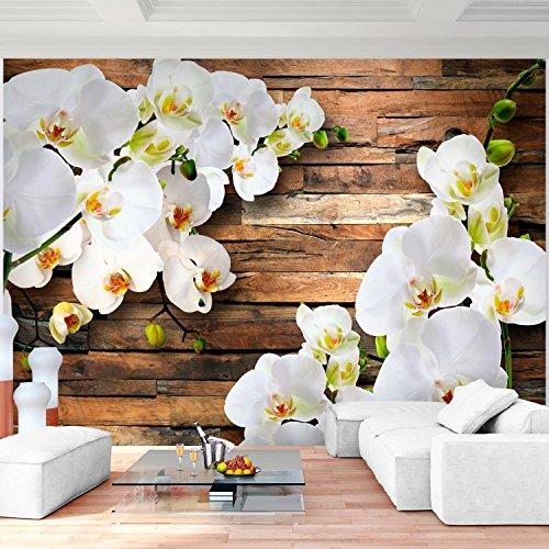 Fototapete Orchidee 3D Weiß Holz 352 X 250 Cm Vlies Wand Tapete Wohnzimmer  Schlafzimmer Büro Flur Dekoration Wandbilder XXL Moderne Wanddeko   100%  MADE IN ...