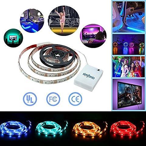 Simfonio Battery LED Strip Lights 1M 30LEDs IP65 Waterproof 5050 RGB TV LED Strip With Mini Controller