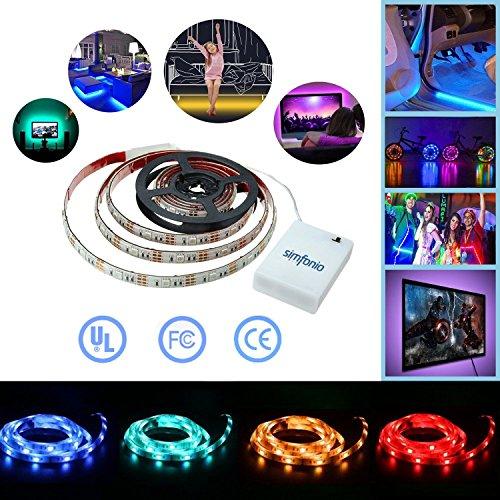 Simfonio LED Stripes 1m - LED Stripes Batteriebetrieben Wasserdicht 5050 SMD RGB LED Band für LED TV Hintergrundbeleuchtung LED Streifen