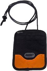 GOX Passport Neck Pouch, Single Slice Style 420D Nylon Multi-Function Waterproof Portable Pouch/Document Bag Card Holder Cash Money Pocket Travel Wallet - Short, Orange