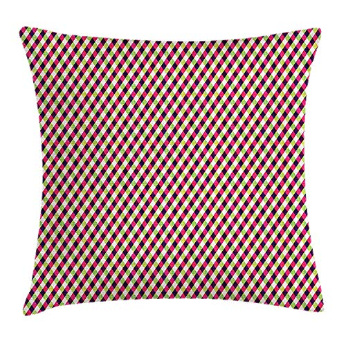 KAKICSA Geometric Throw Pillow Cushion Cover, Colorful Checkered Rhombuses Pattern Grid Style Illustration with Chevron Zigzags, Decorative Square Accent Pillow Case, 18 X 18 inches, Multicolor