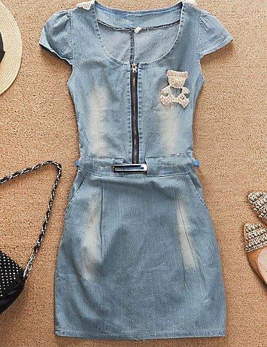 PU&PU Robe Aux femmes Denim Street Chic,Mosaïque Col Arrondi Au dessus du genou Coton / Polyester BLUE-L
