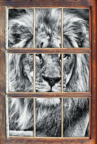 Monocrome, majestätischer Löwe auf Stein Fenster im 3D-Look, Wand- oder Türaufkleber, Wandsticker, Wandtattoo, Wanddekoration