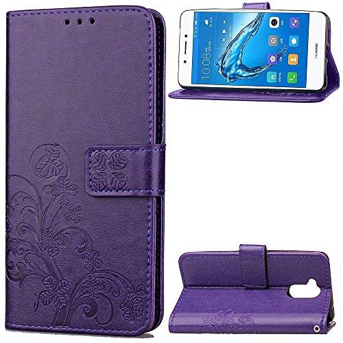EKINHUI Case Cover Double Magnetic Back Sucktion Retro Style PU Leder Flip Stand Case mit Kickstand und Wallet Beutel Funktion für Huawei Changxiang Genießen Sie 6S ( Color : Black ) Purple