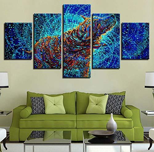 (Wiwhy (Kein Rahmen) Leinwand Malerei Hd Drucke Dekoration 5 Stücke Wandkunst Abstrakte Tier Modularen Bilder Nacht Hintergrund Kunstwerk Poster)
