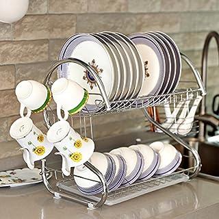 aevel Küche-Rack Abtropfgestell mit Abtropfschale Premium Edelstahl Rostfrei 39,5× 19× 12cm max Laden 30–40kg Silver_