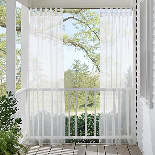 Outdoor Sheer Vorhänge für Terrasse, RYB Home Tab Top Windows Behandlung Sheer Voile Vorhänge, Textil, weiß, 52 x 84 in - Terrasse Vorhänge Küche