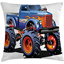 Man Cave Decor Funda de cojín, Cartoon Monster Truck Camión, neumáticos grandes todoterreno, ruedas de tractor grande, turbo decorativo, cuadrado, funda de almohada, 45,7 x 45,7 cm, multicolor