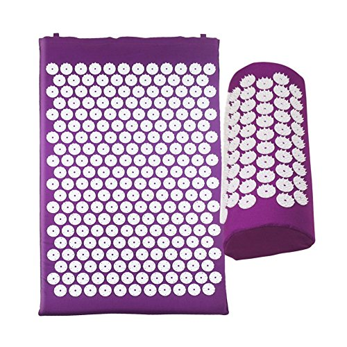 Rowentauk acupressure mat with pillows, massage mat, relaxation mat for back/neck pain and muscle relaxation