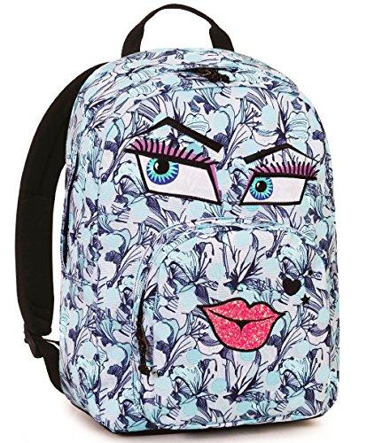 Zaino invicta , ollie pack face fantasy , 25 lt , azzurro , tasca per portatile  e tablet