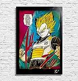 Arthole.it Vegeta Super Saiyan da Dragon Ball Super (di Akira Toriyama) - Quadro Pop-Art Originale con Cornice, Dipinto, Stampa su Tela, Poster, Locandina, Anime, Manga