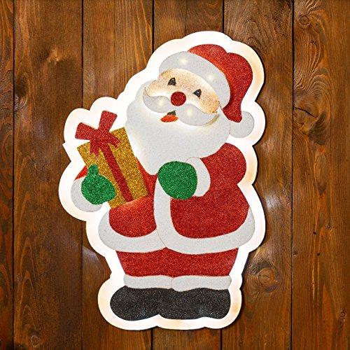 Babbo Natale Glitter 26 x h 37 cm, 20 led bianco caldo, figure natalizie, decorazioni luminose da appendere