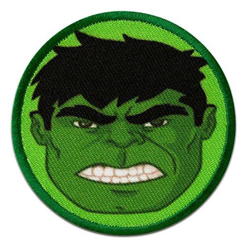 Parches - AVENGERS Hulk Button cabeza cómico niños - verde - 6cm - by catch-the-patch termoadhesivos bordados aplique para ropa