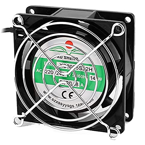 sourcingmap® AC 220V-240V 0.07-0.08A 80mmx80mmx25mm 7 Vanes Cooling Fan w Metal Finger Guard and Dust Filter Mesh