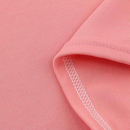 Kword Donna Manica Lunga Benda O Collo Short Felpa Pullover Top Camicetta Casual Rosa