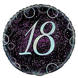 Unique Party Globo foil de 18 cumpleaños Color rosa metálico brillante 45 cm 55793