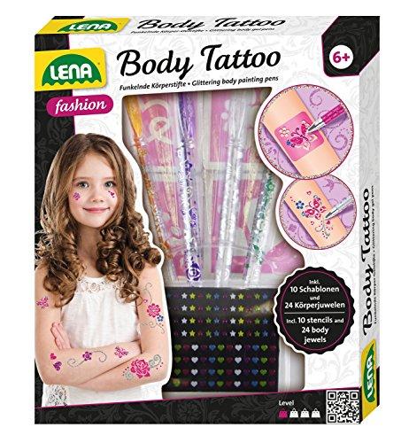 Lena 42433 - Fashion und Bastelset Body Tattoo, Set zum Stylen mit 4 glitzerfarbenen Stiften und 10 Schablonen für Körpertattoos und 24 Juwelen Sticker 3D für Körper, Mode Set für Kinder ab 6 Jahre