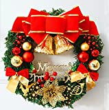 Grandes Guirlandes Fleurs Artificielles Couronne de Noël XMas à l'intérieur et l'extérieur idéal Déco Noël pour magasins,bureaux,sapin de Noël ou DIY. Diamètre 30cm...