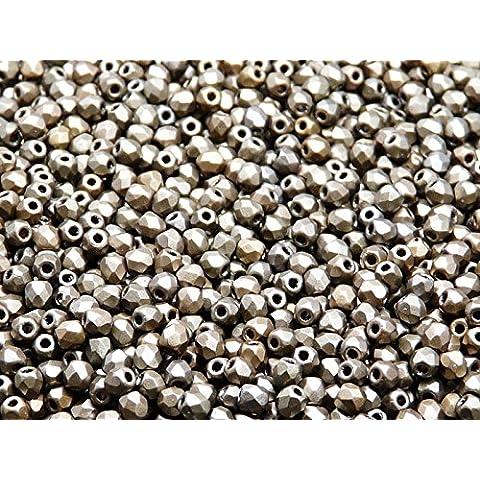 100pc Czech Perle Sfaccettato vetro, Fire-Polished Beads,Rotondo 3mm Gray Rainbow
