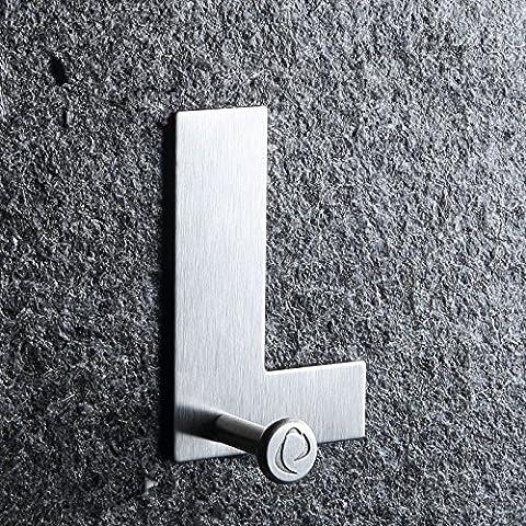 Assis gancho de pared ganchos -- Carta Adhesivo Heavy Duty Metal gancho de pared, toalla gancho, perchero, ganchos de puerta perchas de pared de, ganchos para llaves, acero inoxidable cepillado 3m