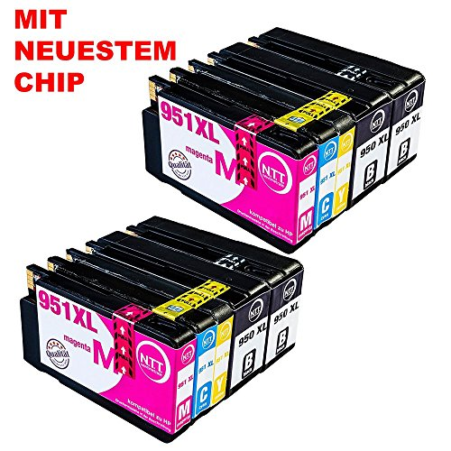 N.T.T. 10x Tintenpatronen kompatibel zu HP950 HP 951XL HP-950 HP-951 ( 4 Schwarz, 2 Cyan, 2 Magenta, 2 Yellow ) Multipack kompatibel zu HP OfficeJet Pro 8600, 8610, 8620, 8630, 8640, 8660, 8615, 8625, 8100, 251dw, 271dw Druckerpatronen kompatibel zu HP-950-XL  HP-951-XL - 80 Tinte Yellow