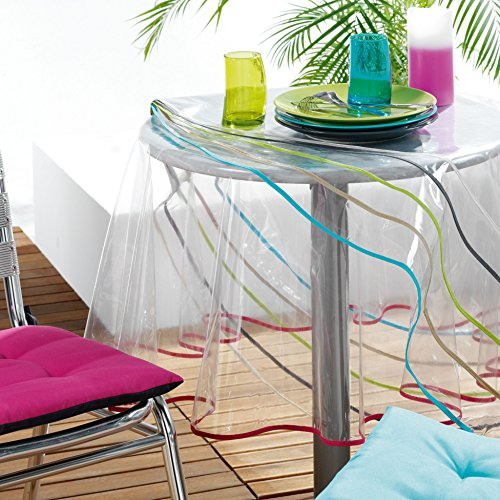 Ligne Décor Nappe cristal rectangle 140 x 240 cm PVC uni Garden/biais anthrac