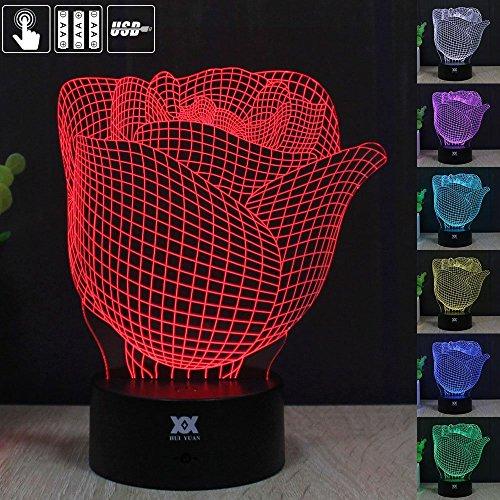 Hui Yuan 3D Lampe LED Nachtlicht Optische Illusion Leuchten Fernbedienung Schreibtisch Tisch Lampe Rose Flower Modell Bild EFFEKT Touch Control für Mädchen Home Office childrenroom Dekoration und Urlaub Geburtstag Lover und Valentines Geschenk (Rose Touch-lampe)