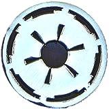 Spilla in metallo smaltato di Star Wars (Guerre Stellari) stemma imperiale dell'Impero Galattico (cromato e nero)