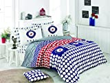 OMASES BHPC Beverly Hills Bettwäsche-Set für Doppelbetten, Leinen, Kissenbezug, 100% Baumwolle, Rot, Weiß, Schwarz, runde Kreise, Pferdesport, stilvoll, 200 x 200 cm, Geschenkbox 176BHP22213