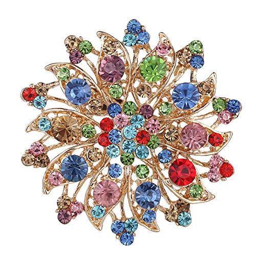 MATBC Bunte Strass Kristall Blume Brosche Pins für Frauen Hochzeit Braut Bankett Schmuck Bejeweled Brosche Pins Kleid Dekoration Bejeweled Tier