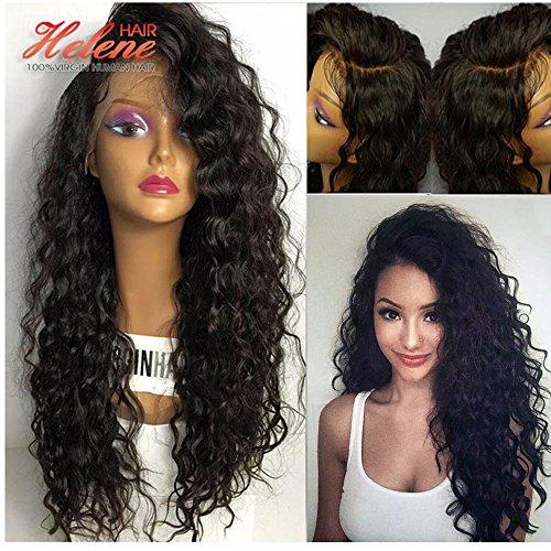 8A Vague Deep perruque Brésilien Virgin cheveux humains Cheveux sans colle complète Lace Wigs avec bébé cheveux pour les femmes noires 180% Densité ( 16 pouces)