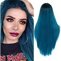 YMH PRIDE Schwarze bis blaue Ombre lange gerade Perücken für Frauen Natürlich aussehende Mittelteil-Kunsthaarperücke mit…