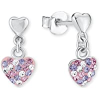 Prinzessin Lillifee Kinder-Ohrhänger Herz 925 Silber rhodiniert Kristall