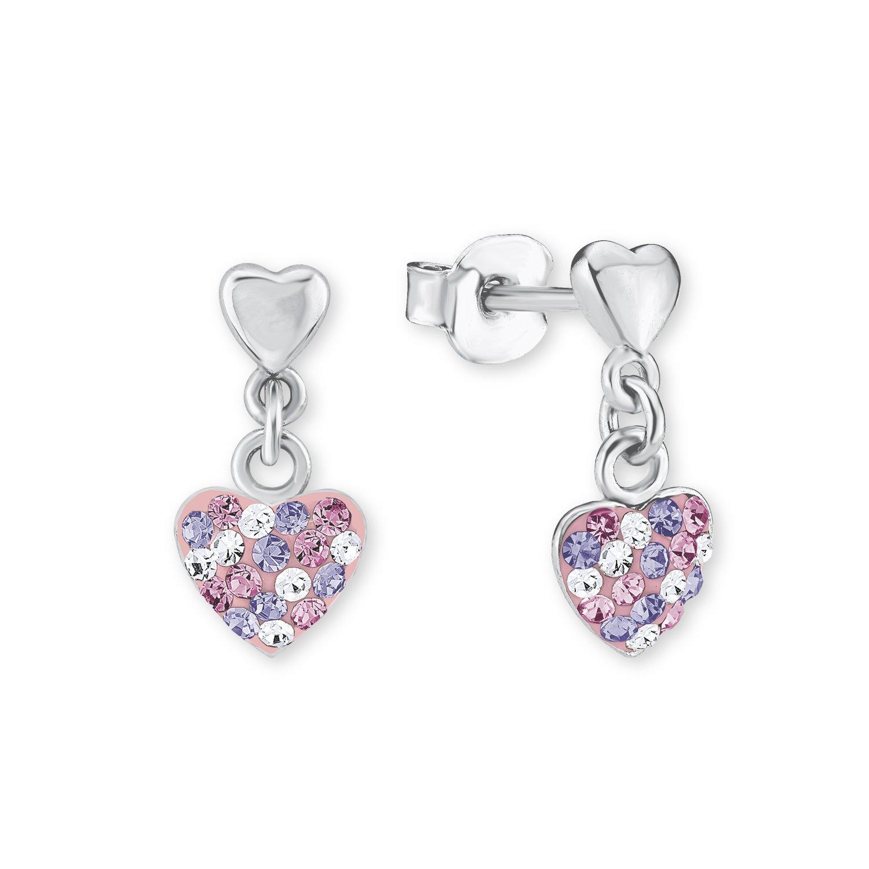 Principessa Lillifee bambini orecchini a forma di cuore in argento 925�rodiato cristallo multicolore