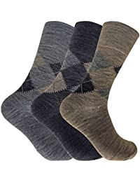 3 Pack Mens Thin Warm Loose Non Elastic Lambs Wool Blend Argyle Pattern Socks for Circulation