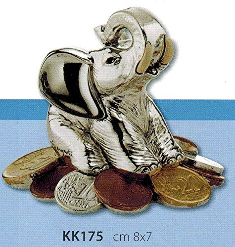 Elefante portafortuna con soldi argento e smalto kikke cm8x7 laminato argento made in italy