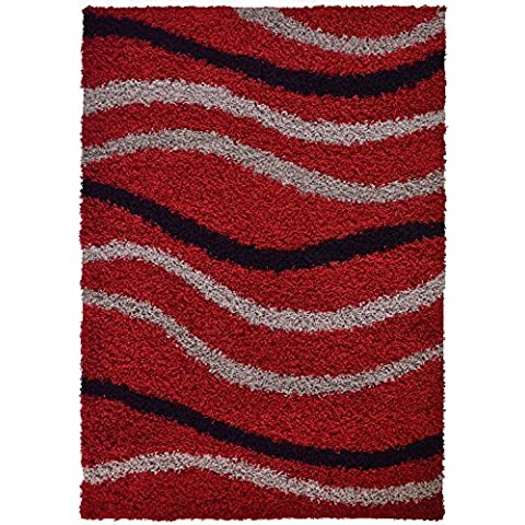 Shaggy Collection Red Waves Shag Area Rug (4030) (3'3