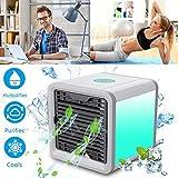 Mini Air Cooler Mobile Klimageräte Luftkühler mit Wasserkühlung Zimmer Klimaanlage Ventilator USB Klimagerät 3 in 1 Raumluftkühler Luftreiniger Einstellbare 7 Farbe LED-Licht - 3 Ventilationsstufen