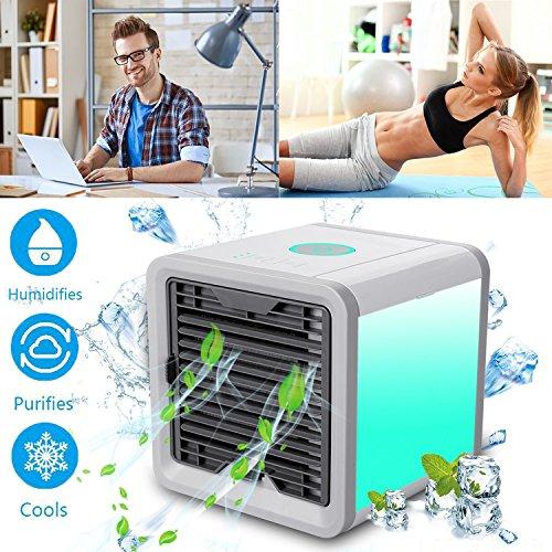 Mini Air Cooler Mobile Klimageräte Luftkühler mit Wasserkühlung Zimmer Klimaanlage Ventilator USB Klimagerät 3 in 1 Raumluftkühler Luftreiniger Einstellbare 7 Farbe LED-Licht - 3 Ventilationsstufen (White FBA)