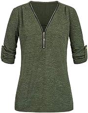 iYmitz Damen Solide Langarm Knopf Bluse Pullover Tops Shirt Mit Taschen