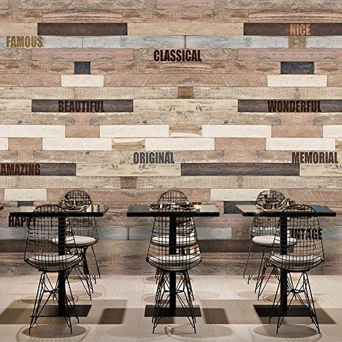 Vlies Tapete Wandbilder 3D Retro Wall Painting Faux Wood Embossing Wood-Grain Wallpaper Bar Ktv Restaurant Of The Hotel Background Wallpaper -
