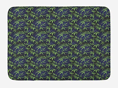 RAINNY Green Oriental Bath Mat, Stylized Tender Bamboo Leaves Fish Scale Geometric Pattern, Plush Bathroom Decor Mat with Non Slip Backing, 23.6 W X 15.7 W Inches, Royal Blue Dark Blue Green