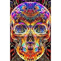 5D-Diamantbild auf Leinwand, 5d Malerei Totenkopf, 5D Diamant Painting Kristalle zum Selbstaufkleben, Malen-nach-Zahlen-Prinzip, Wanddekoration, Motiv: Mexikanischer Totenkopf 30x 40cm