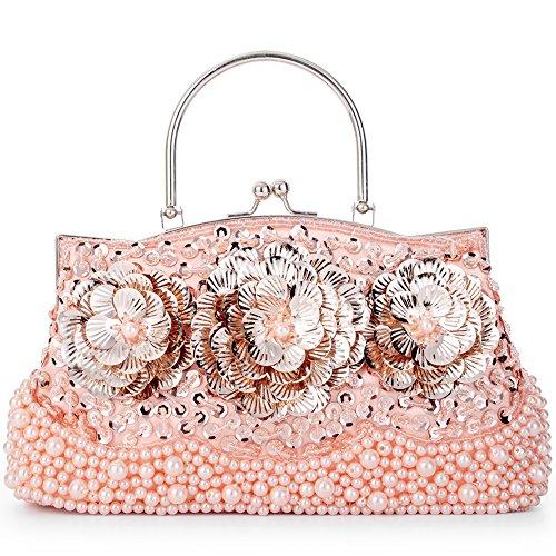 (LONGBLE Abendtasche Damen Clutch Für Party Schultertaschen Umhängetasche Brauttasche mit Perlen Pailletten Schulterketten Geschenk für Frauen Glitzer Retro Party Hochzeit Theater (Rosa Blumen))