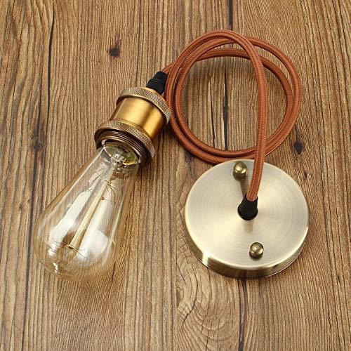 VintageⅢ E27 Lampenfassung Retro lampenaufhängung Kupfer mit baldachin Antike Pendelleuchte Vintage Hängelampe industrie deckenlampe mit 1 Meter textilkabel und Halter (Messing Matt)