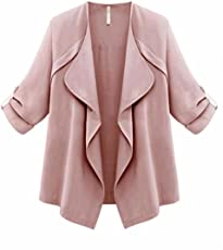 Outtop Women's Fashion Plus Size Coat Ladies Cardigan Solid Color Long Sleeve Tops