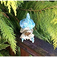Shy fairy, hand made fairy garden pottery fairy, reading her book, 3 colours available.